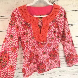 Tory Burch pink orange embroidered blouse